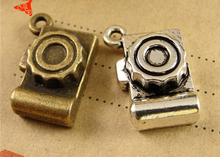 12*19MM Antique Bronze Retro camera charm beads, mobile phone pendant lovely small adorn article, accessories to make jewelry