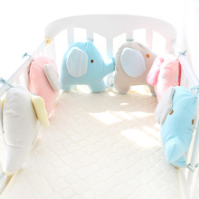 Buy Infant Crib Bumper Bed Protector Baby Kids Cotton Cot Nursery bedding 6 pc plush elephant bumper boy girl 180*35cm for $34.50 in AliExpress store