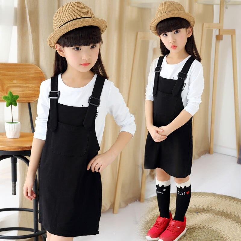 Baby strap dress + t-shirt set children girls  2017 spring new girl strap dress  12 year old girl clothes   teenage girl <br><br>Aliexpress