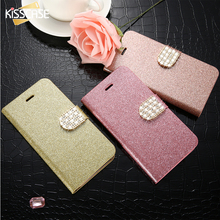 KISSCASE For iPhone 5 5S Case Glitter Bling Leather Cases For iPhone 5 5S SE 6 6s 7 Plus Stand Flip Cover Jewelled Case For Girl(China)