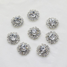 10Pcs/pack 15MM rhinestones Buttons Full Diy Flat Back Craft Making Hair Accessories Wedding Invitation Card Decoration(China)