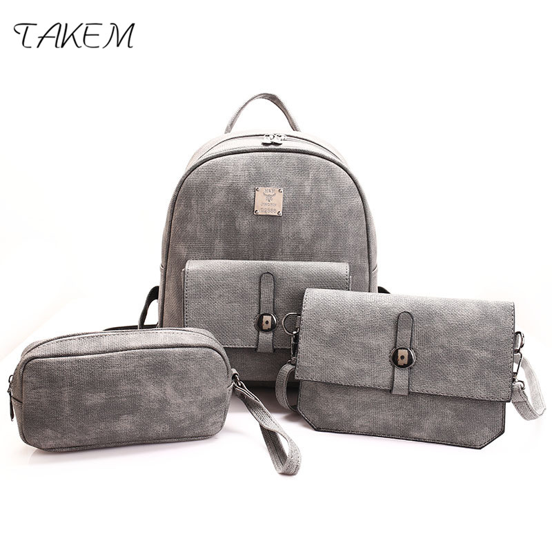 TAKEM 2018 NEW women backpack fashion three piece ladies casual top-handle Shoulder Bag Simple fashion college style bag<br>