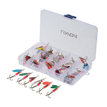 Lixada 30Pcs Carbon Steel Fishing Lure Kit Mixed Size Sequin Spinner Bait With Hook Peche Fish Lure In Box Pesca Fishing Tackle(China)