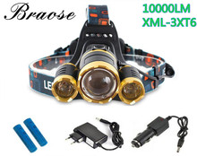 10000 Lumen CREE XM-L T6 LED Adjust Focus Headlamp Headlight Caming Hunting HeadLight Lamp 4 Modes+18650 Battery+ AC/Car Charger