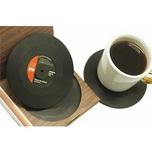 6 Pcs/ set Home Table Cup Mat Creative Decor Coffee Drink Placemat for table Spinning Retro Vinyl CD Record Drinks Coasters(China)