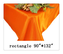 "Free shipping rectangle tablecloth size 90""*132"" color orange for wedding decoration"