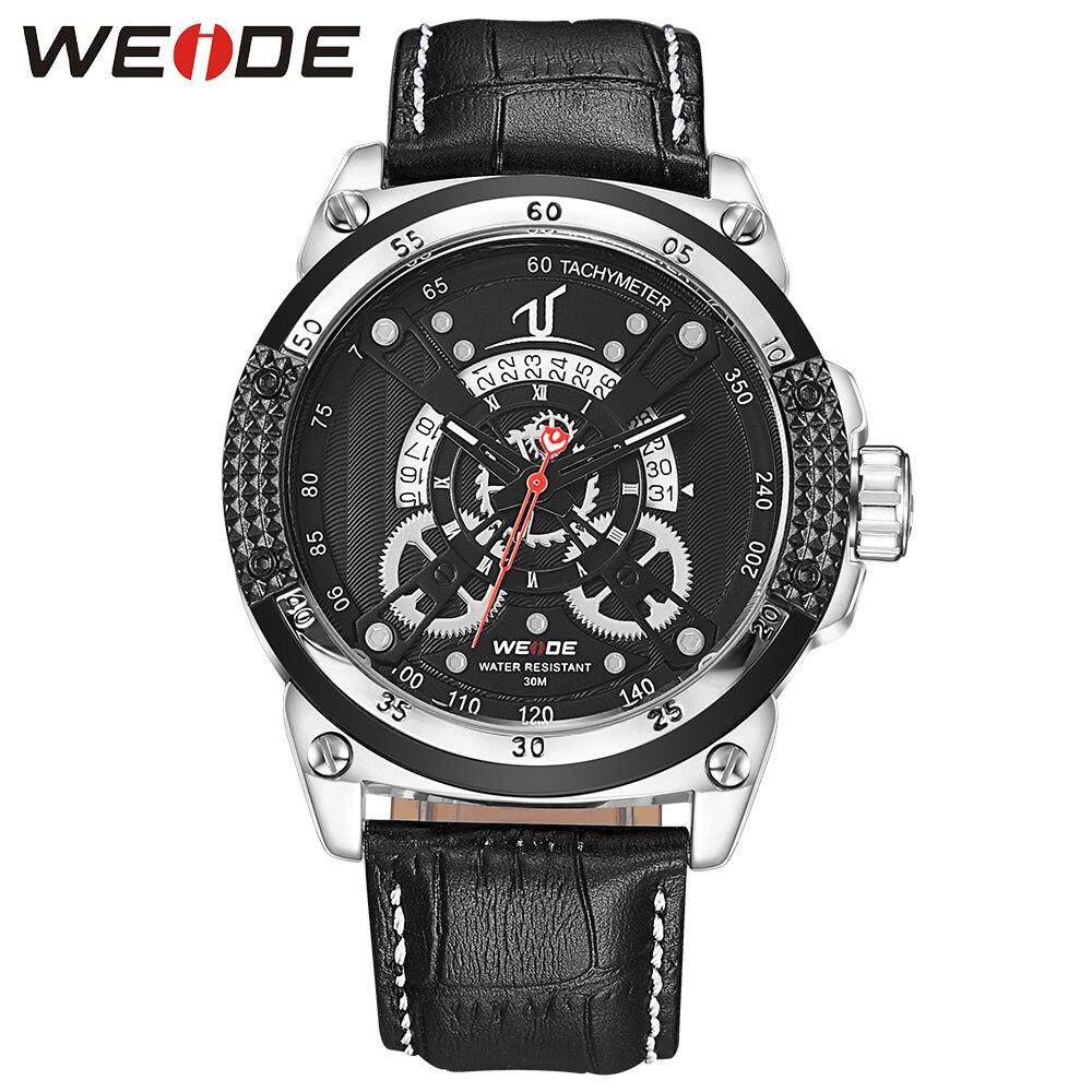WEIDE Watches Sport Men Luxury Brand Business Dress Quartz Watch Black Dial Analog Clock Leather Strap Buckle Wristwatch For Man<br>