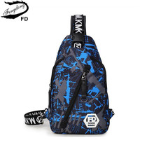 FengDong blue camouflage male Chest Bag waterproof oxford fabric one shoulder women travel bags Men casual Sling Crossbody Bag(China)