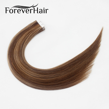 "FOREVER HAIR 2.0g/pc 18"" Remy Tape In Hair Extension Piano Color #4/8/18 Straight European Skin Weft Human Hair Extensions"