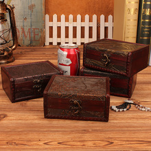 Desktop storage box With retro metal lock Can clamshell Wooden Organizer Wooden Jewelry Case cosmetic beautiful Gift Box Pattern