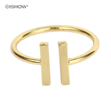 New Women Men Rings Gold Color Jewelry Open Bar Double Parallel Engagement Minimalist Copper Golden T Gift Bague femme(China)