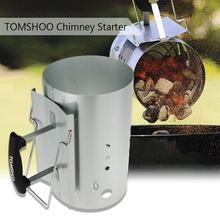 TOMSHOO Chimney Starter Fire Starter Handle Camp BBQ Charcoal Chimney Starter Lighter Coal Starter for Picnic Camping Hiking