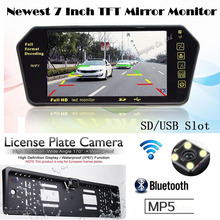 Wireless Multimedia Function Auto 7 inch Monitor FM MP4 MP5 Bluetooth with Car European License plate Rear view camera For car(China)
