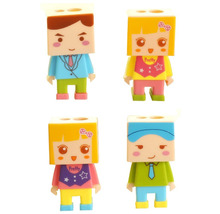 Pack of 4 Plastic DIY Assembly Cartoon Character Dual Dome Pencil or Crayon Sharpener(China)