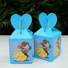 6pcs/lot Princess Bell Beauty and the Beast Favor Box Gift Box Cupcake Box Kids Birthday Party Supplies  Event Party Supplies