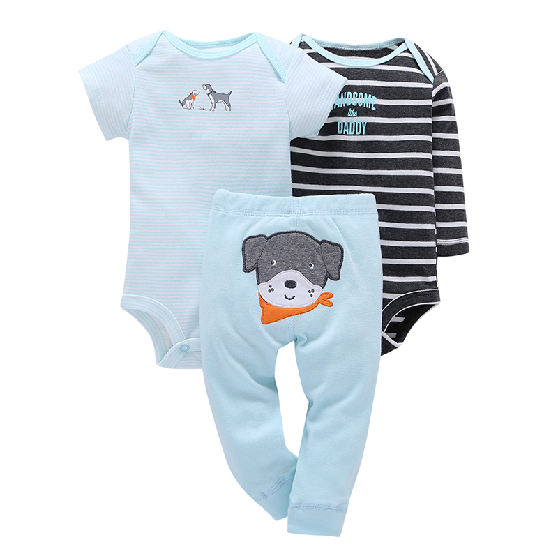 Baby Boys girl Clothing Set 3pcs/Set Blue Dog Trousers + 2pcs Striped Climbing clothes 0-2Y baby 2017 Spring Suit Baby Clothes