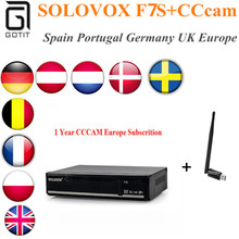 SOLOVOX F7S+1 Year CCcam Europe+USB WiFi Satellite Receptor Receiver WEB TV CA Card Youporn Better than SolovoxF6S Free Shipping