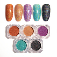 1.5g 1 Box Holographic Glitter Laser Powder Ultra-thin Shining Nail Glitter Manicure DIY Nail Art Chrome Pigment 5 Colors