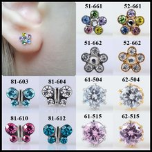 Fashion Girls Pair Flower Butterfly Sterile Ear Stud Earrings Studs Studex Tragus Cartilage Piercing Push-Back Ear Jewelry(China)