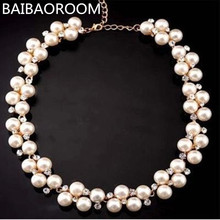 New Good Quality Gold-color Inlaid With Imitation Short Choker Pearl Necklace SALE Gift(China)