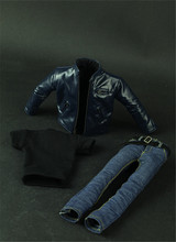 1/6 Scale male Figure Clothes JG Blue leather motorcycle jeans suit for 12'' soldier action figure(China)