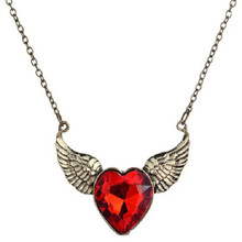 SHUANGR Angel Wings Antique Gold-Color Statement Necklace Red Heart Crystal Love Heart Necklaces Pendants Long Chain Jewelry
