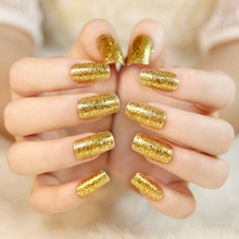 High-end Glitter False Nails Queen Gold Color Pre-designed Fake Nail Long Size Appointment Must Z339