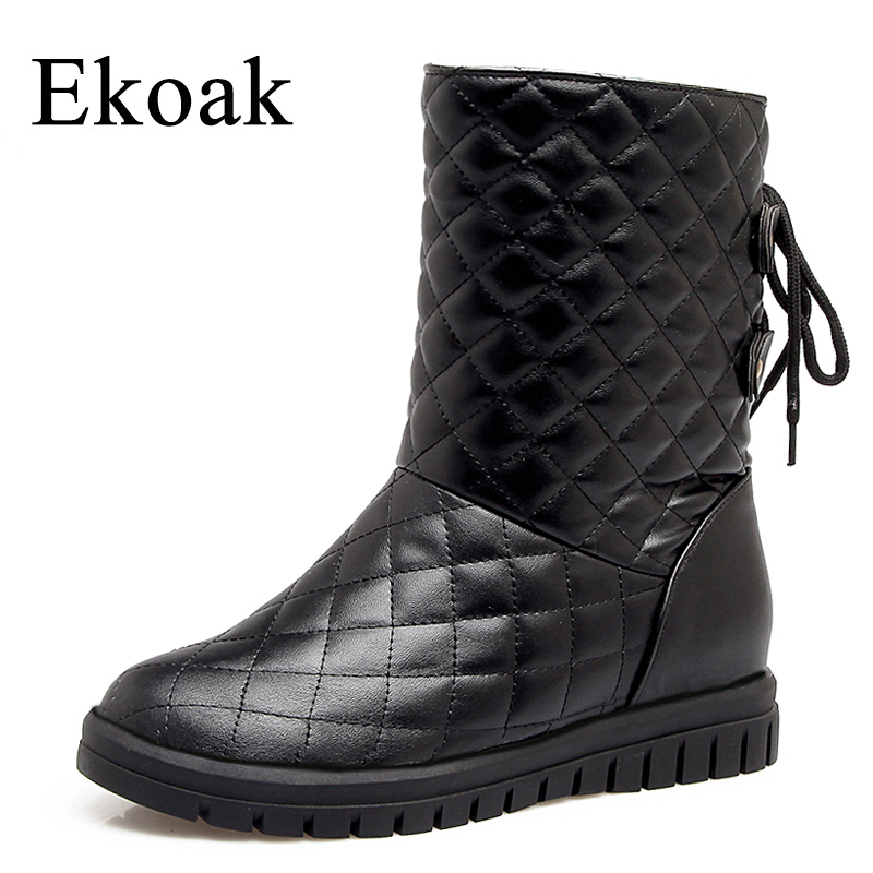 Ekoak New 2018 Warm Plush Women Snow Boots Shoes Woman Fashion Ankle Boots Ladies Wedges Platform Boots Girls Winter Boots<br>