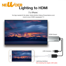 HDMI Cable HDTV Cable For iPhone 7 5s 6 6S Plus Lightning USB To HDMI Adapter For iPad 2 3 4 To HD TV 1080P Adapter Newoer(China)