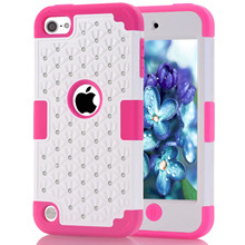 Touch 5/6 Bling diamond Starry Rubber PC+ Silicone Hybrid phone Case cover for Apple ipod touch5/touch6
