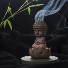 Creative Gift Home Decor Little Monk Censer Ceramic Yixing Backflow Stick Incense Burner Buddha Purple Clay Pottery Base Tea Pet