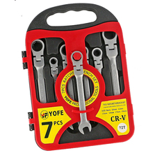 LIXF-YOFE 7pcs/set 8-19 fine polished active head dual-use ratchet fast wrench 180 degree rotation red