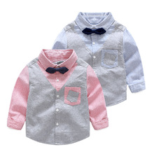 Kids Boys Striped Shirts Baby boys Fashion Gentleman Blouse Babies Autumn Bow Tops 2017 childrens clothing
