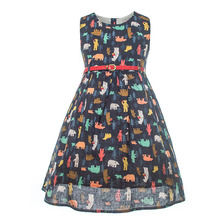 Baby Printed Dress Kids Girls Summer Cotton Animal Dresses Children Sleeveless Fancy Bear Frock for 3 to 12 Years