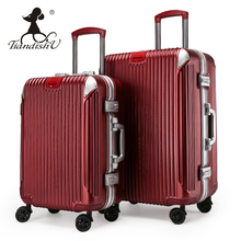"Tiandishu fashion Korean style unisex cute classic 20"" 24"" trolley case PVC roller hardside travel luggage with spinner wheels"