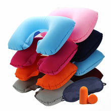 U Shape Travel Pillow+Eye Mask+Ear Plug Travel Set Soft Inflatable Travel Pillow Double Layer Neck Support Protection Pillow(China)