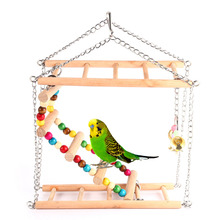 Wooden Bird Ladder Parrots Toys Bird Swing Exercise Rainbow Hamster Parrot Parakeet Toy(China)