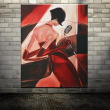2015 Hot Hand painted Sexy Singing Girl Naked Figure Oil Painting On Canvas Modern Picture Wall Arts Decoration For Living Room
