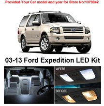 Free Shipping 14Pcs/Lot car-styling Xenon White Premium Package Kit LED Interior Lights For Ford Expedition 2003-2013