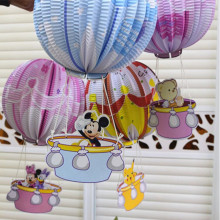 New Design Minnie Bear Cartoon Pendants Hot Air Balloon Paper Lantern Children Birthday Party Supplies