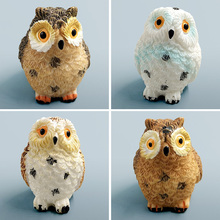 Owl Figurine Miniature Animal Figure Decoration fairy garden Aquarium fish tank animal statue resin craft TNA036(China)