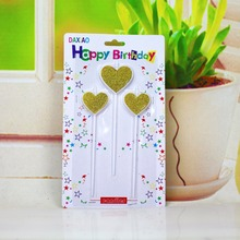 Birthday Party Decration Heart Candle Blue Silver Golden Big Cake Decoration Candles 3pcs 23.5*13.8*1.1cm(China)