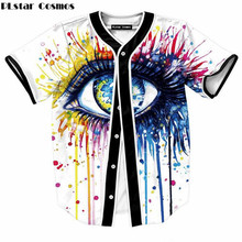 PLstar Cosmos Mens Buttons Homme 3D Shirt Streetwear Tees Shirts Hip Hop Color big eyes Custom Made Baseball Jersey  size M-XXL