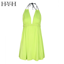 HYH HAOYIHUI Sexy Deep V Neck Halter Neon Green Dress A-Line Strap Women Vestidos Backless Summer Beach Mini Dress(China)