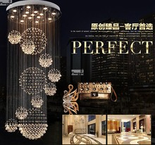 Modern Ball Design K9 Crystal Chandelier Large lustres de Crystal Lights Spiral Design Lamp for Living room large stair lighting