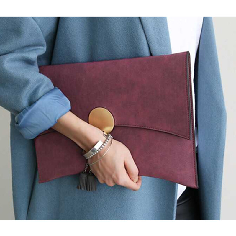 Brand Design Women Clutch Bag Handbag Faux Suede Elegant Ladies Shoulder Bag Moon Matte Leather Chains Envelope Crossbody Bag<br><br>Aliexpress