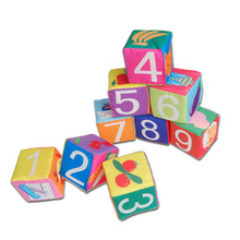 9pcs/lot Educational Early Intelligent Infact Baby Toys 2 Design Soft Cloth Colorful Book Blocks cube kids Number Pattern Bauble(China)