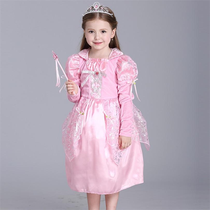 Pink Girl Princess Dresses Full Sleeve Print Ball Gown Girl Dress Children Clothing Halloween Cosplay Sleeping Beauty Girl Dress<br><br>Aliexpress