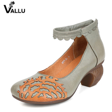 2017 Original Genuine Leather Women Pumps Ankle Strap Round Toes Back Zip Handmade Retro Women Shoes High Heel