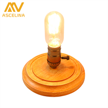 LED Wooden Table Lamp ASCELINA American Antique Retro Loft Desk Lamps Dimmable Night Light Office lamp Bedroom/Living Room/Cafe